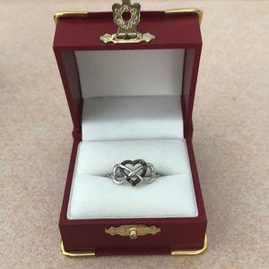Jewelry - Black Diamond Sterling Silver Heart Ring
